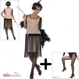 1920's Coco Flapper - Adult Costume Set (Costume. Headpiece, Cig Holder, Necklace and Tights)