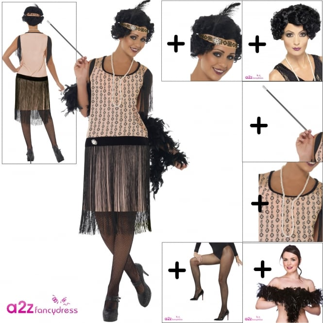1920's Coco Flapper - Adult Costume Set (Costume. Wig, Headpiece, Cig Holder, Necklace, Boa, Tights)