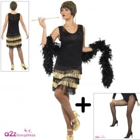 1920's Fringed Flapper - Adult Costume Set (Costume, Fishnet Tights)