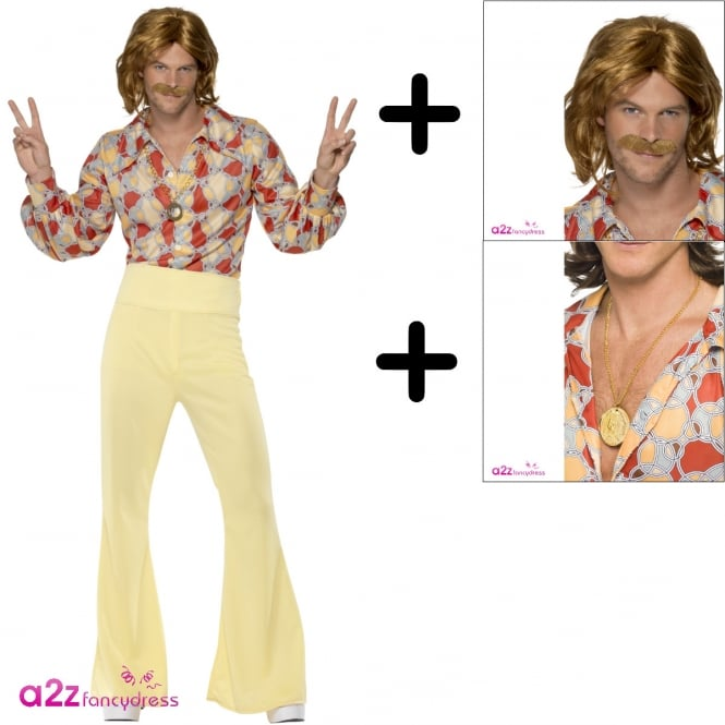 1960s Groovy Guy - Adult Costume Set (Costume, Wig & Tash)