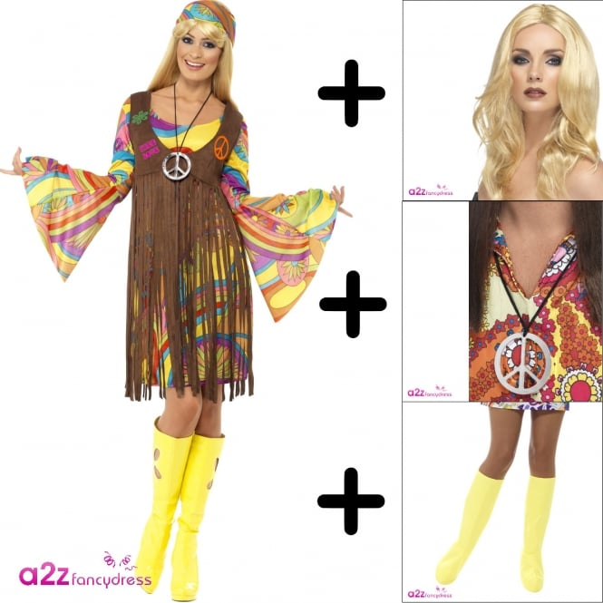 1960's Groovy Lady - Adult Costume Set (Costume, Wig, Bootcovers & Medallion)
