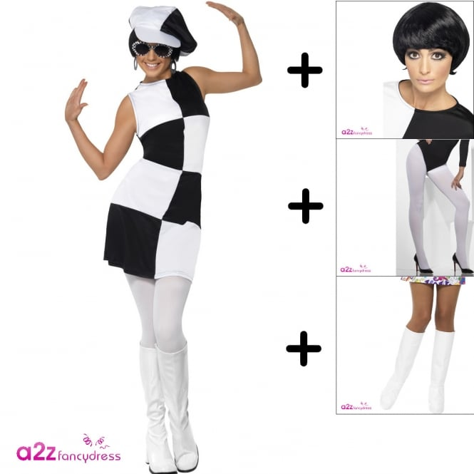 1960s Party Girl - Adult Costume Set (Costume, Wig, Tights, Bootcovers)