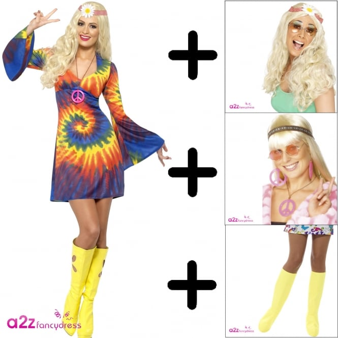 1960s Tie Dye - Adult Costume Set (Costume, Wig, Bootcovers, Medallion)