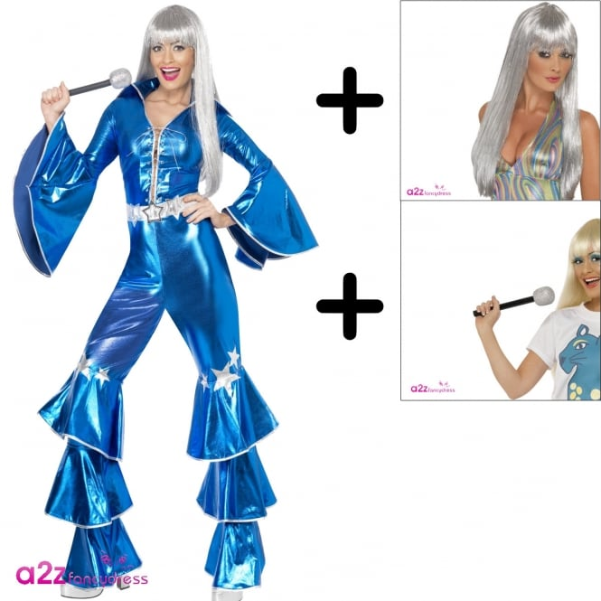 1970's Dancing Dream (Blue) - Adult Costume Set (Costume, Wig & Microphone)