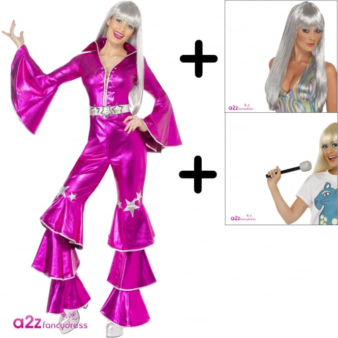 1970's Dancing Dream (Pink) - Adult Costume Set (Costume, Wig & Microphone)