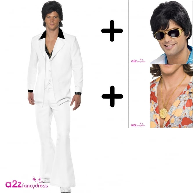 1970's White Suit - Adult Costume Set (Costume, Wig, Medallion)