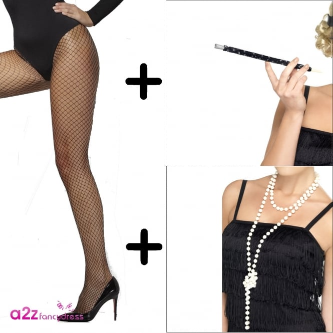 20's Necklace, Cigarette Holder and Lattice Tights - Adult Accessory Set