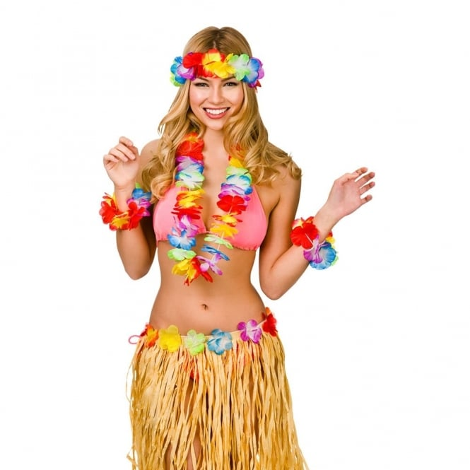 685aba99d4cc 5 x Aloha Hawaiian 4 Piece Lei Set - Adult Accessory - Adult ...