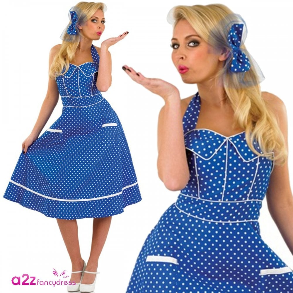 06abf51479520 50's Blue Dress - Adult Costume - Adult Costumes from A2Z Fancy Dress UK