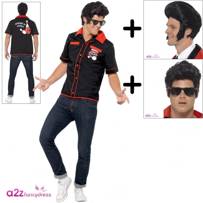 50s Bowling Shirt - Adult Costume Set (Costume, Wig, Specs)