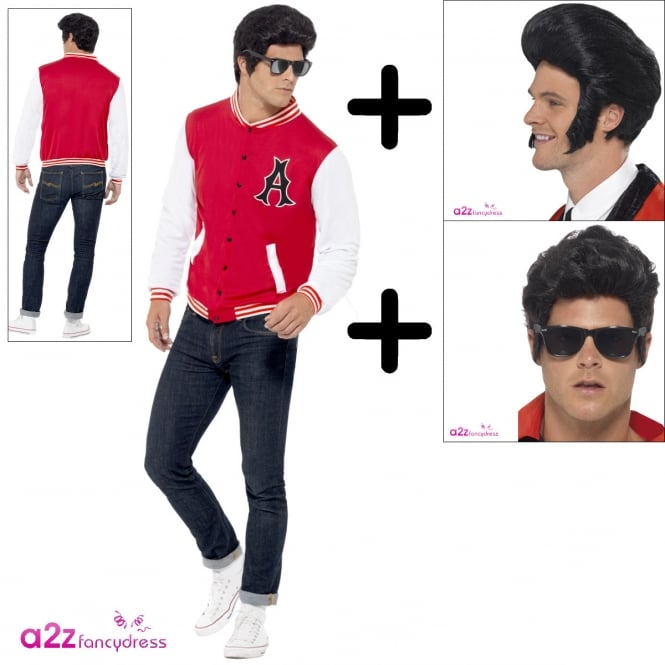 50s College Jock Letterman Jacket - Adult Costume Set (Costume, Wig, Specs)