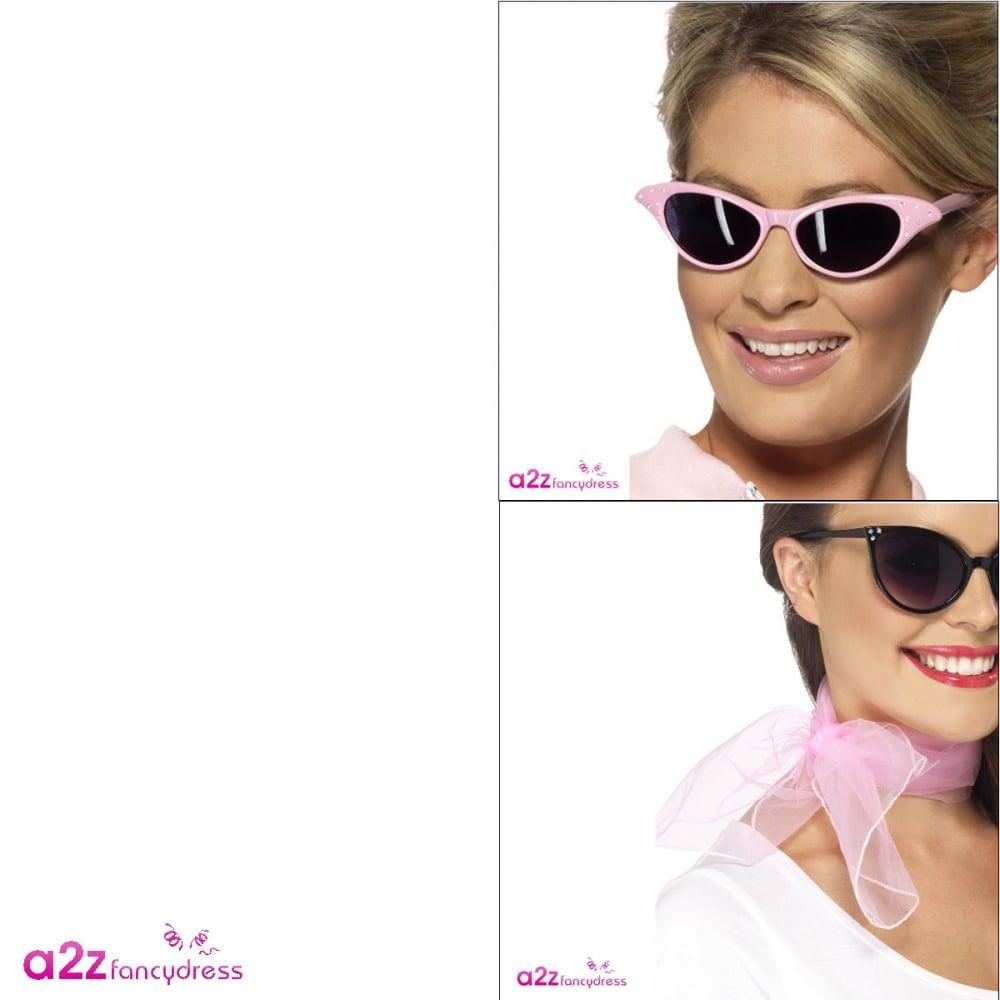 5278de6cc6 50s Flyaway Sunglasses   Pink Chiffon Scarf - Accessories from A2Z ...