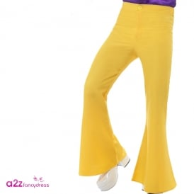 60s Flared Trousers (Yellow) - Adult Costume