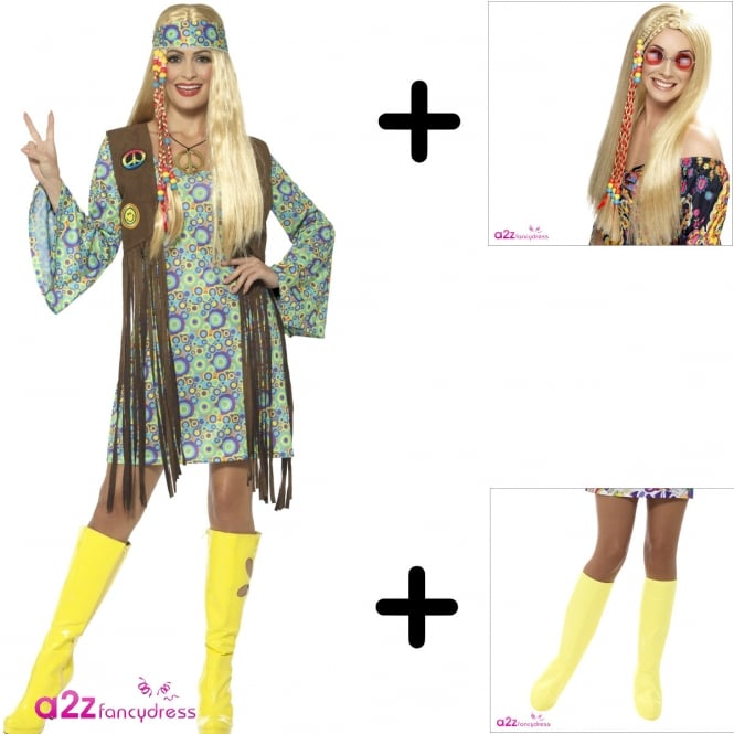 60's Hippie Chick - Adult Costume Set (Costume, Wig & Boot Covers)