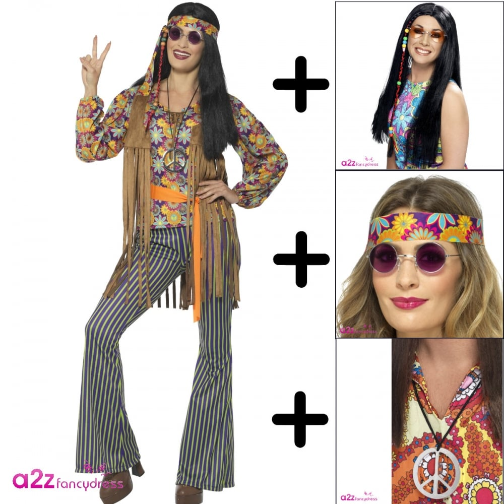 60's hippie singer - adult costume set (costume, wig, specs
