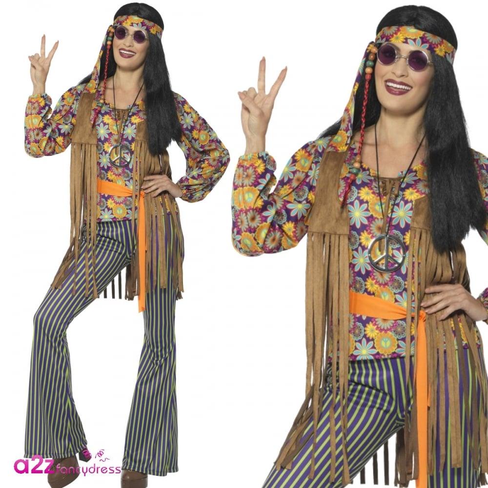 Adult Ladies 1960s Multicoloured Vintage Hippy Fancy Dress Costume with Headband