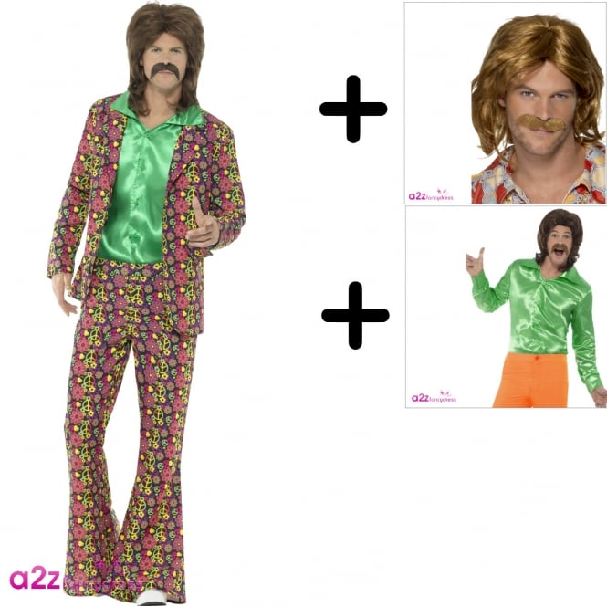 60's Psychedelic CND Suit - Adult Costume Set (Costume, Shirt, Wig & Tash)