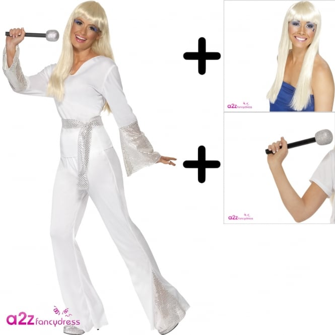 70s Disco Lady - Adult Costume Set (Costume, Wig, Microphone)