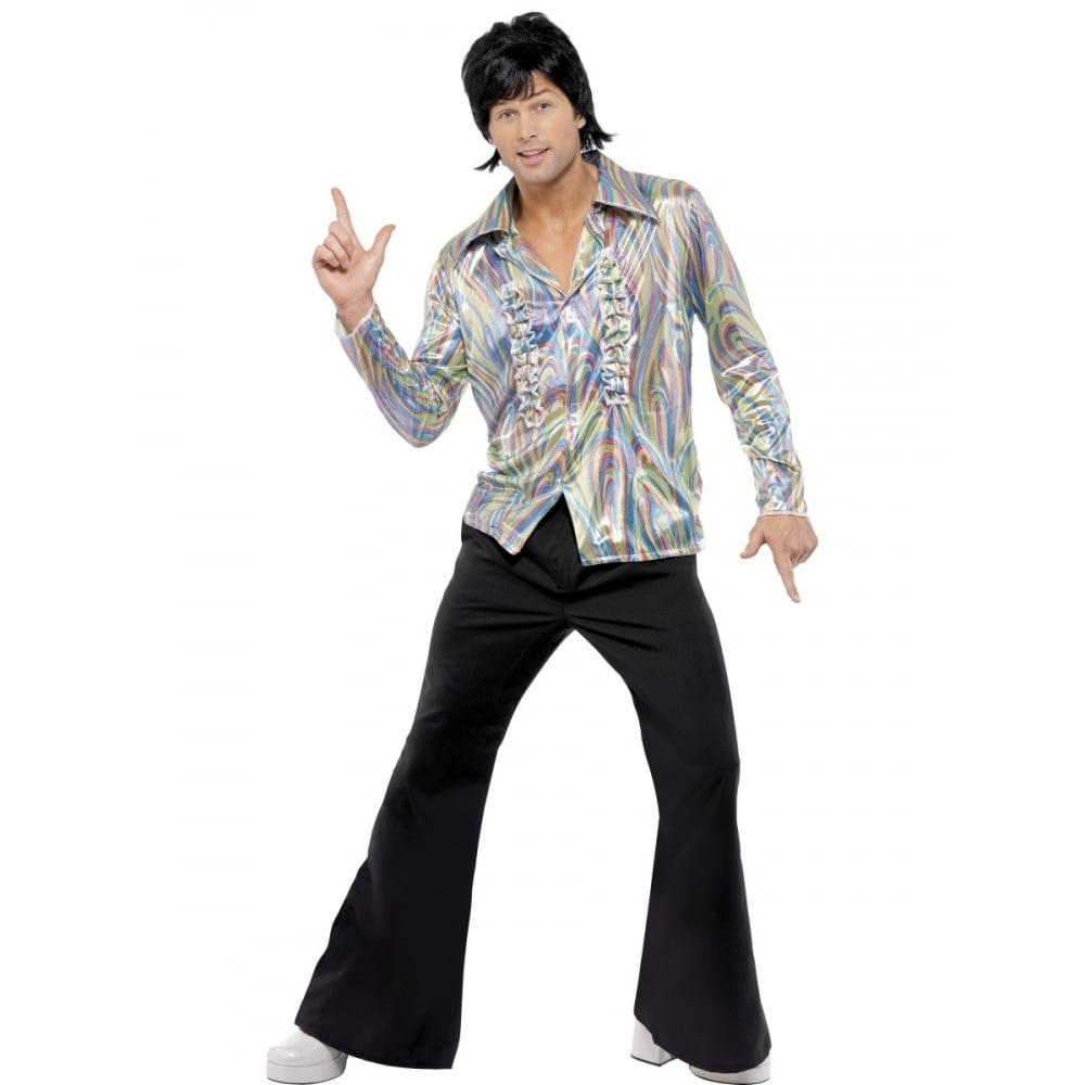 Orion Costumes Mens 70s Disco Dancer Hippy Shirt And Flared Trousers Fancy Dress