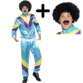 Mens 80's Height Of Fashion Shell Suit (Blue) - Adult Costume Set (Costume, Wig & Tash)