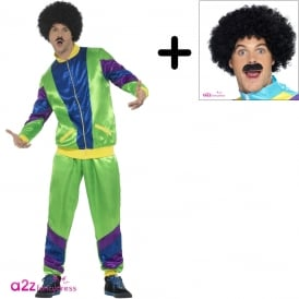 Mens 80's Height Of Fashion Shell Suit (Green) - Adult Costume Set (Costume, Wig & Tash)