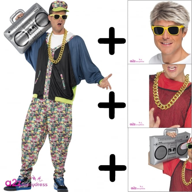 80's Hip Hop - Adult Costume Set (Costume, Chain, Specs & Boom Box)