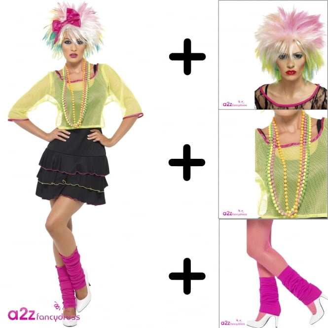 80's Pop Tart Costume Set (Costume, Wig, Leg Warmers & Necklace)