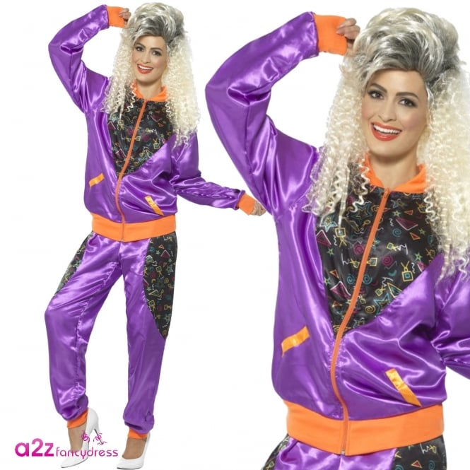 80's Retro Shell Suit (Purple) - Adult Ladies Costume