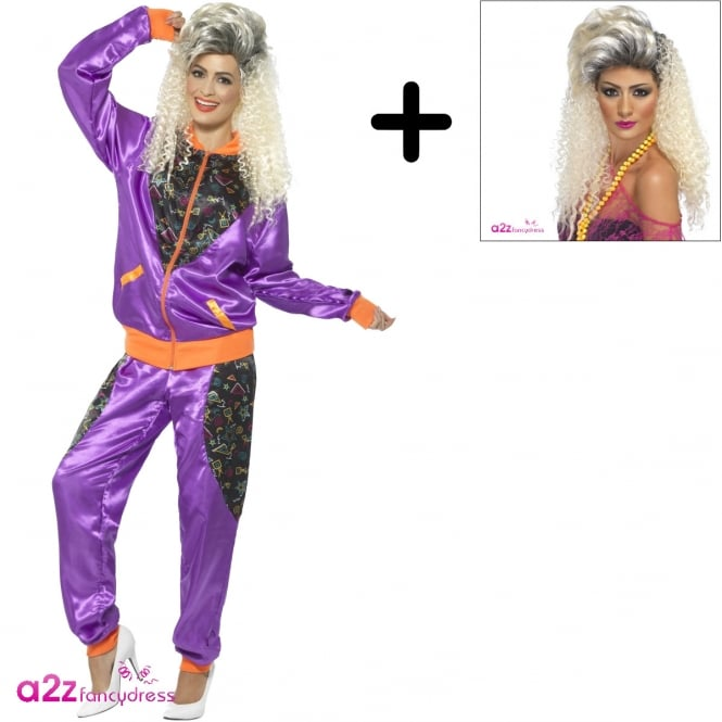 80's Retro Shell Suit (Purple) - Adult Ladies Costume Set (Costume, Wig)