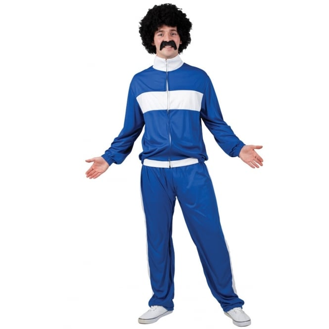 80's Retro Trackie (Blue) - Adult Costume