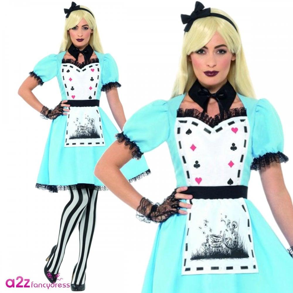 Deluxe Dark Tea Party Costume Gothic Alice Halloween Fancy Dress Costume