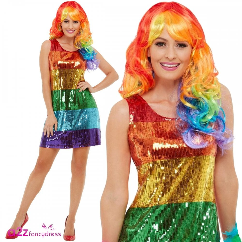 Adult Rainbow Dress Costume Carnival Pride Ladies Fancy Dress Outfit Womens