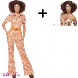 Authentic 70s Chic - Adult Ladies Costume Set (Costume, Wig)