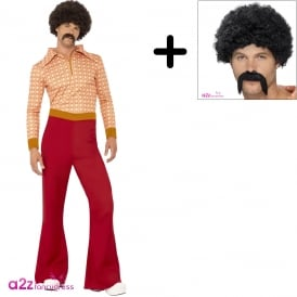 Authentic 70's Guy - Adult Costume Set (Costume, Wig & Tash)