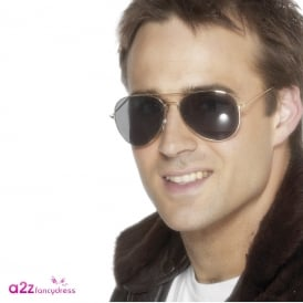 Aviator Specs (Gold) - Adult Accessory