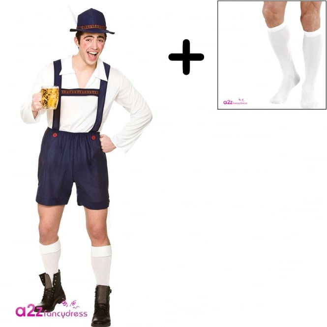 Bavarian Beer Guy (Blue) - Adult Costume Set (Costume, Socks)
