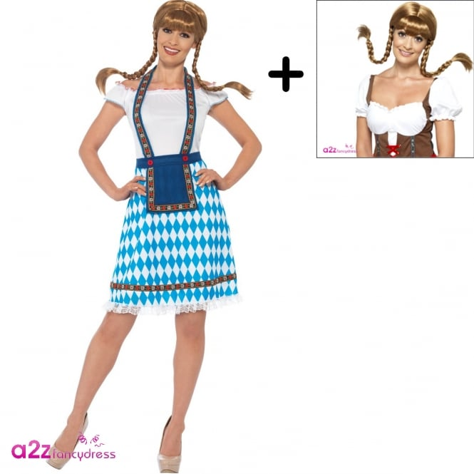 Bavarian Maid (Blue) - Adult Costume Set (Costume, Wig)