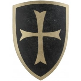 Black Crusader Knight Wooden Shield (Small) - Accessory