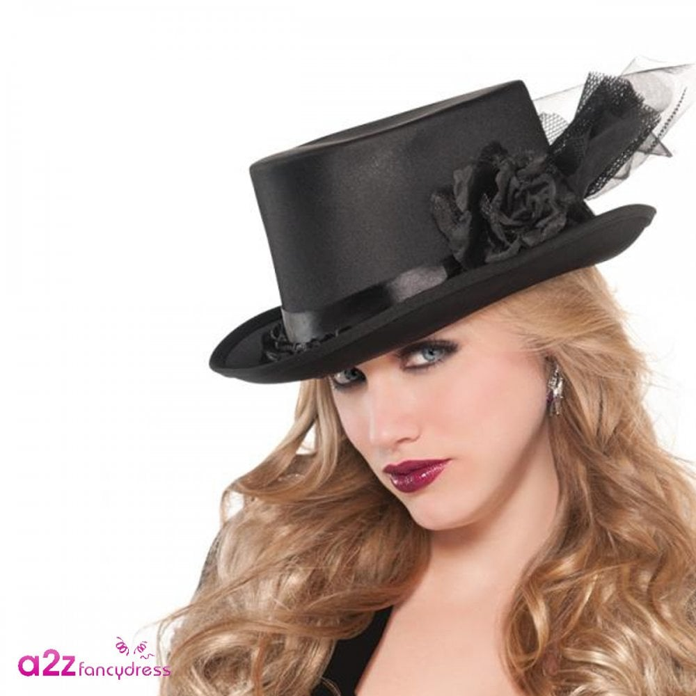 Black Embellished Top Hat - Adult Ladies Accessory - Accessories ... 8de3a11a84b