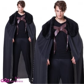 Black Fur Collared Cape - Adult Accessory