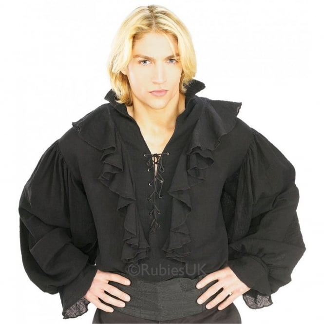 Black Gauze Pirate Shirt - Adult Costume