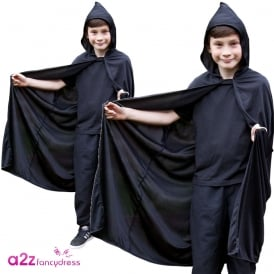 Black Hooded Cape - Kids Accessory