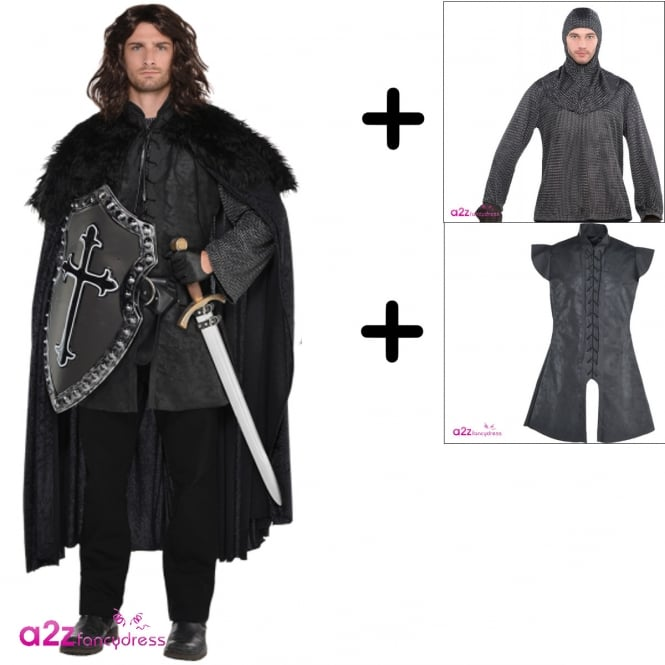 Black Warrior - Adult Mens Costume Set (Warrior Tunic, Chainmail Tunic & Cowl, Furry Cloak)