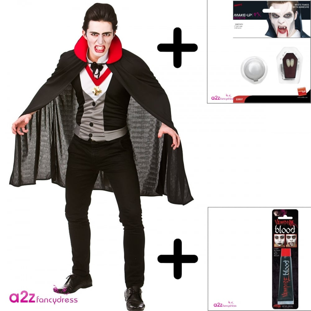 bloodthirsty vampire - adult costume set (costume, fangs, blood)