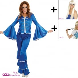 Blue Dancing Queen - Adult Costume Set (Costume, Wig, Mic)