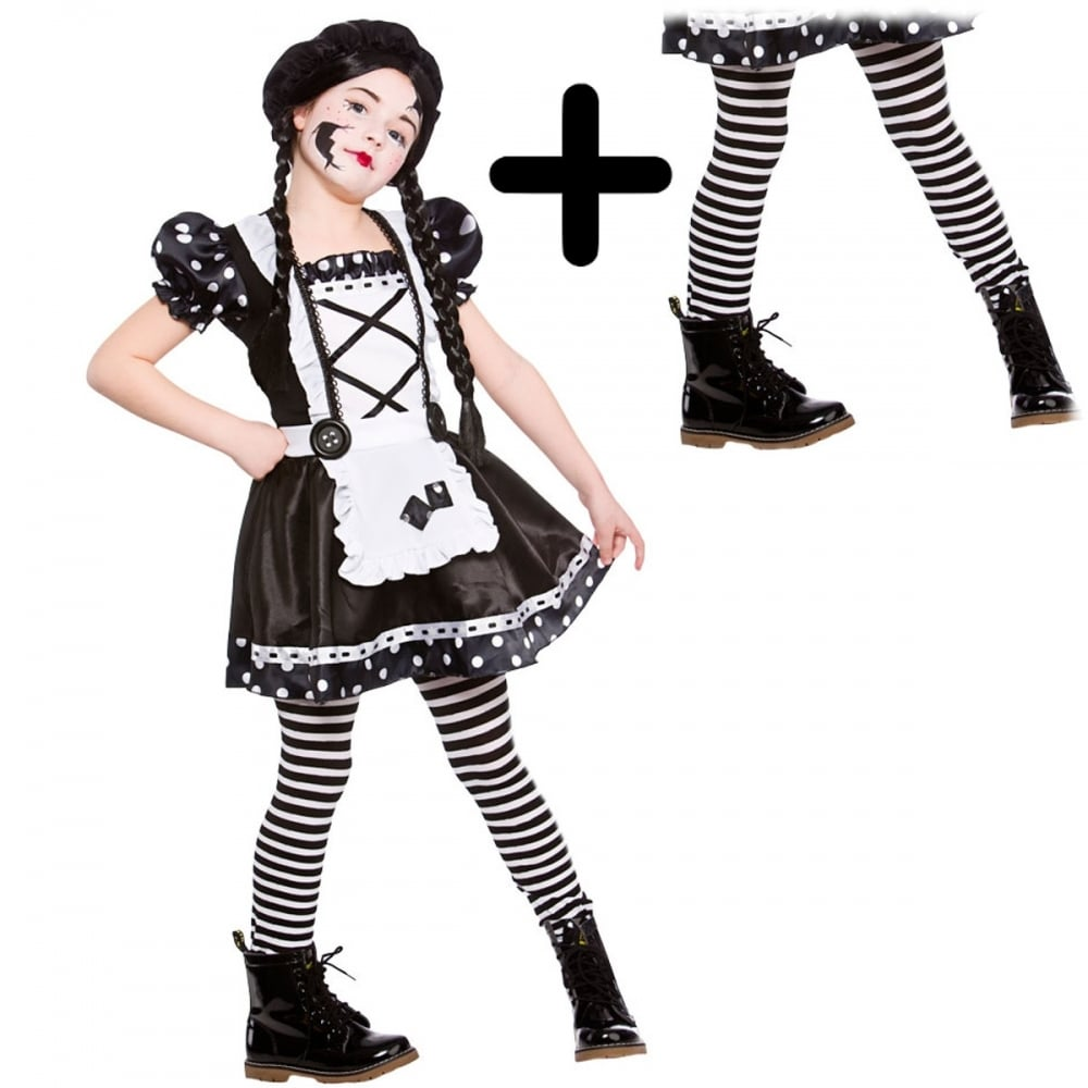 42e7186c85886 Broken Doll - Kids Costume Set (Costume, Black & White Stripe Tights) -  Costume Sets from A2Z Fancy Dress UK