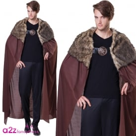 Brown Deluxe Plush Fur Collared Cape - Adult Accessory