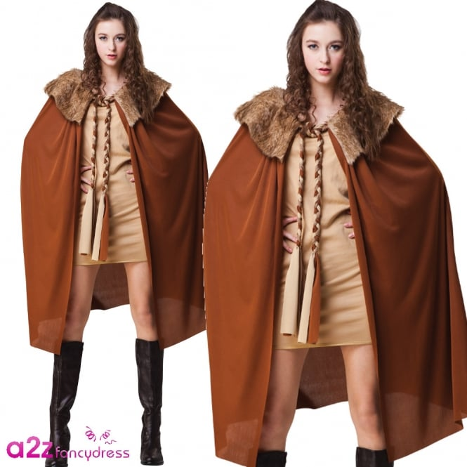 Brown Deluxe Plush Fur Collared Ladies Cape - Adult Accessory