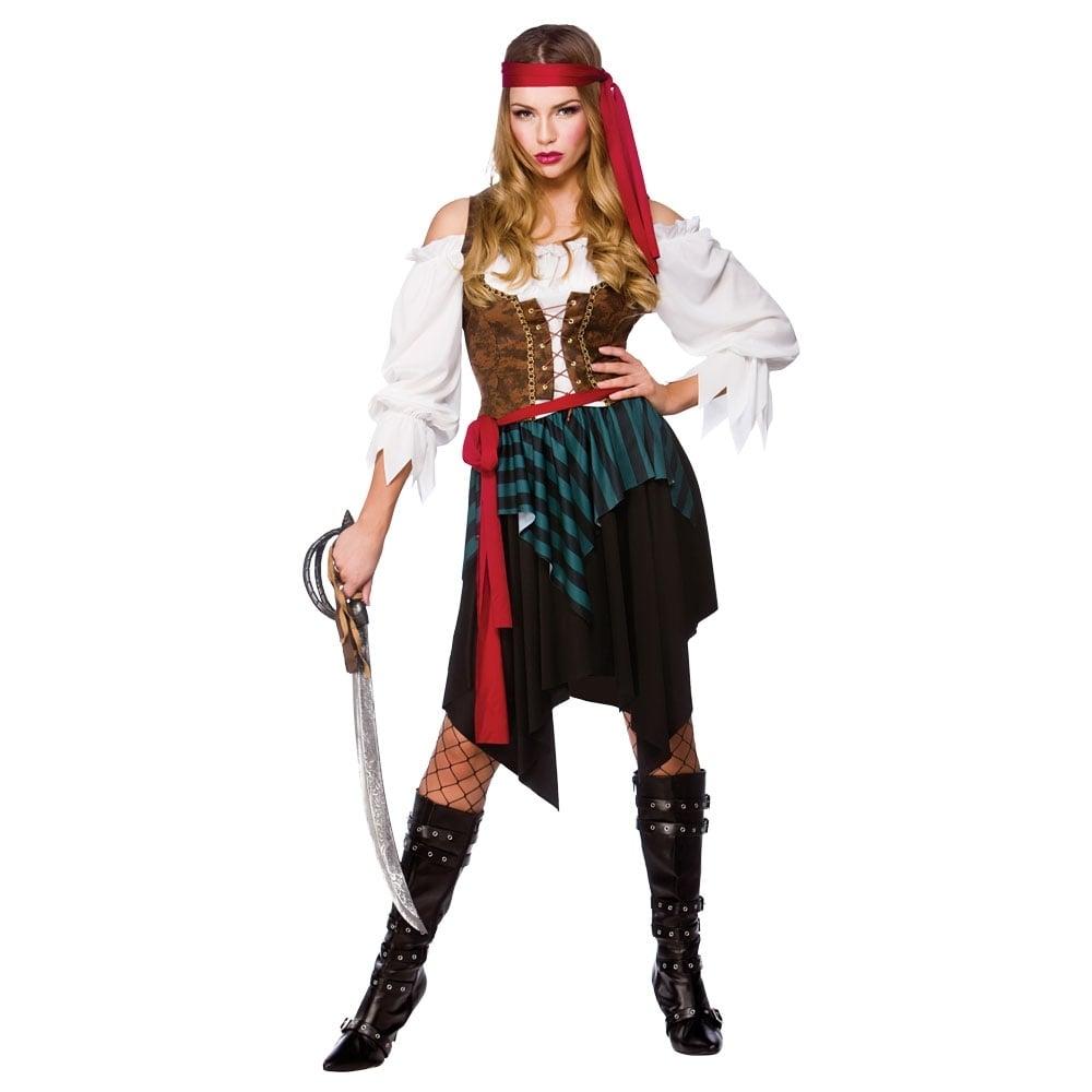 Pirate Shirt Caribbean Buccaneer Fancy Dress Halloween Adult Costume 3 COLORS