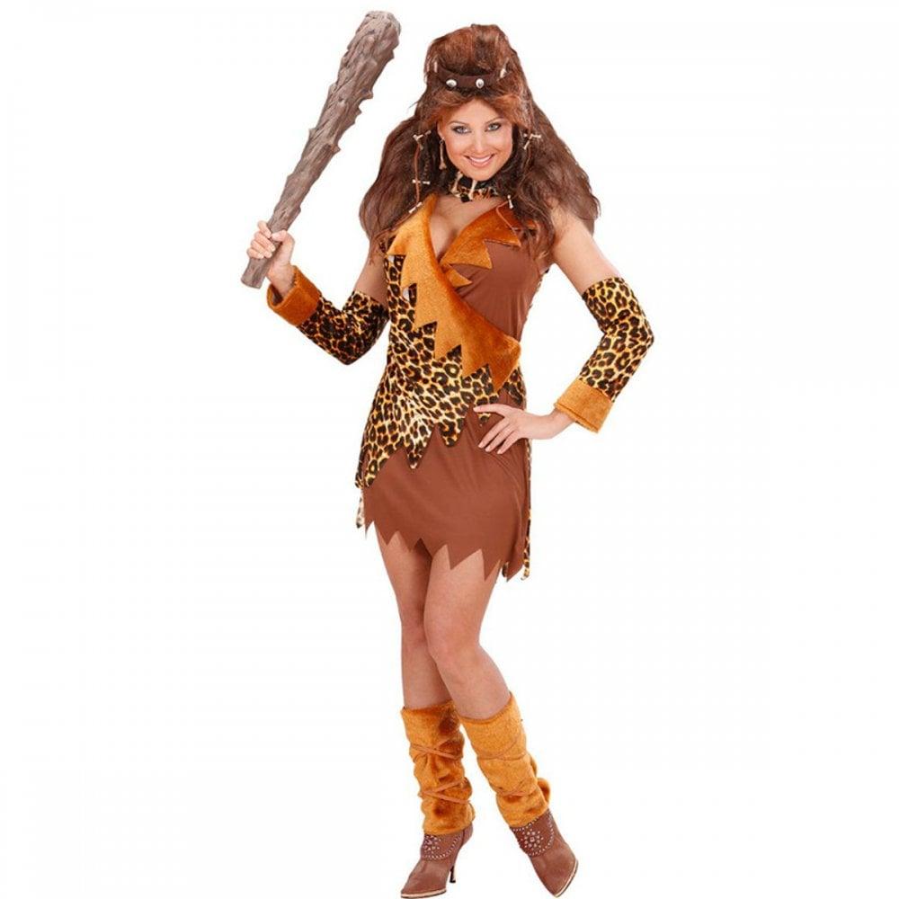 Ladies Size 8 10 12 14 Cave Woman Babe Adult Fancy Dress Leopard Print Costume